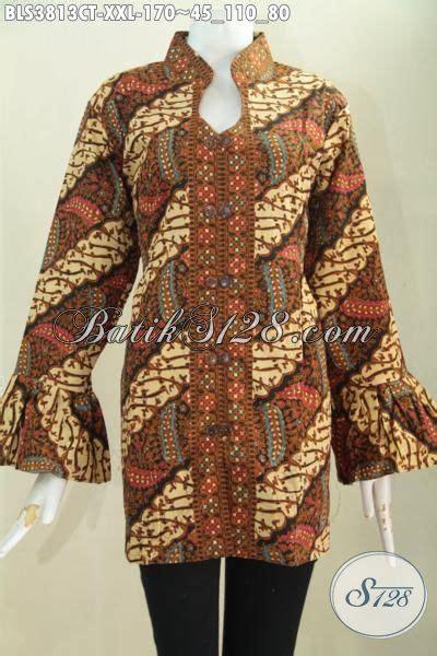 Blus Batik Elegan 263 Cap baju blus batik elegan motif klasik proses cap tulis produk busana batik wanita gemuk kerah