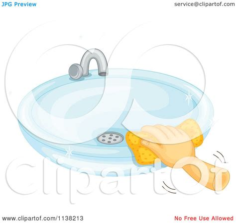 cartoon of a hand using a sponge to clean a sink royalty