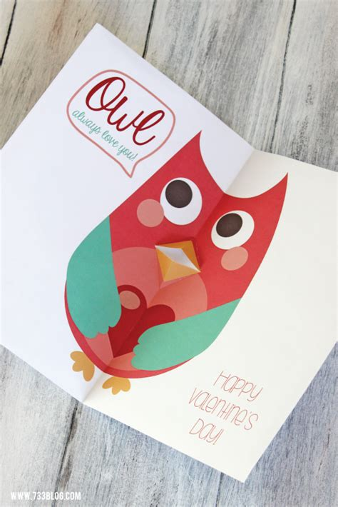 Owl Pop Up Card Template by Printable Pop Up Owl S Day Card Free Printable
