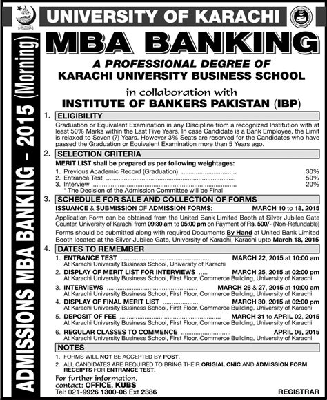 Mba In Lums Admission by Of Karachi Uok Mba Banking Admission 2017