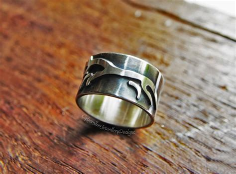 Handmade Mens Jewellery - silver ring white celtic ring sterling silver wide