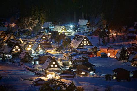 landscape nature winter village night snow japan