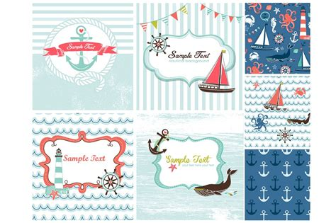nautical card templates sea patterns card templates