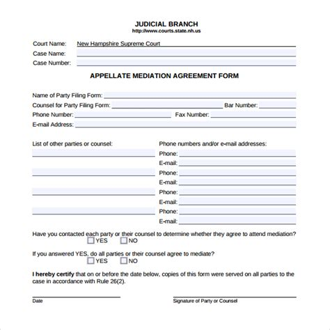 divorce template mediation agreement template 6 free documents