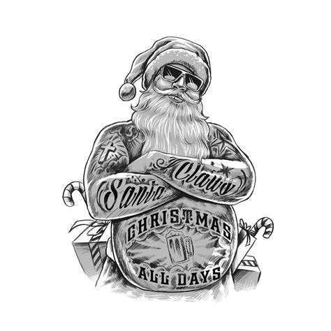 tattooed santa bad santa claus illustration by executor the black and
