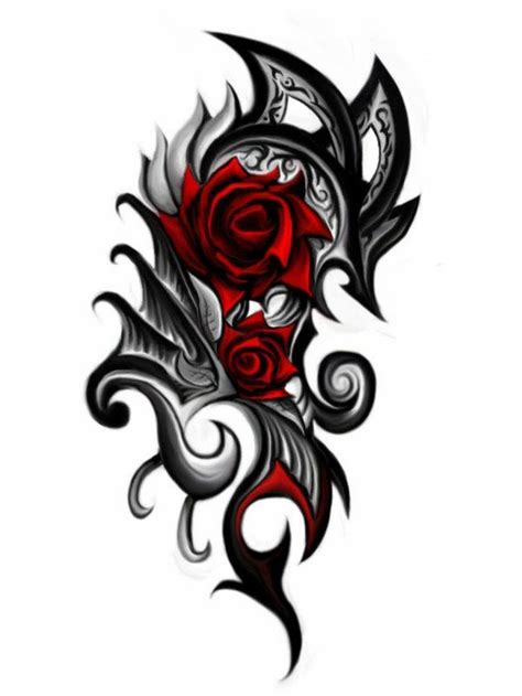 rose with stars tattoos tribal designs for design