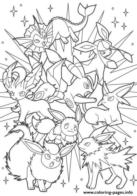 pokemon eevee evolutions coloring pages sketch coloring page
