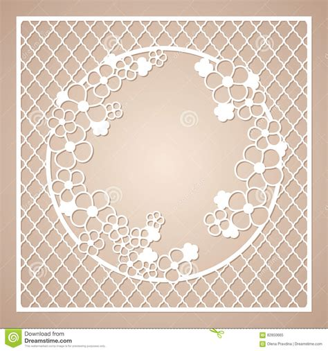 Openwork Square Frame With Round Wreath Of Flowers Laser Cutting Template Stock Vector Image Laser Cut Photo Frame Template