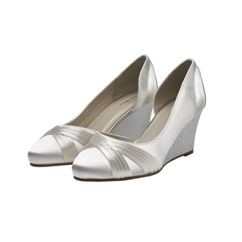 ivory satin shoes rainbow club tamzin ivory satin wedge shoes