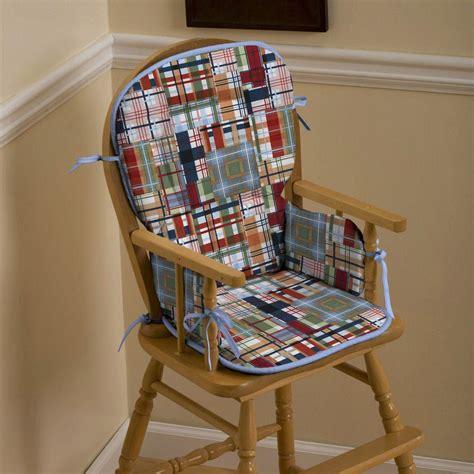 patchwork plaid high chair pad carousel designs