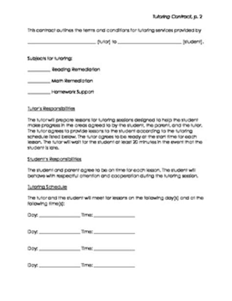 Tutor Contract Template tutor contract by orton gillingham tutor teachers pay