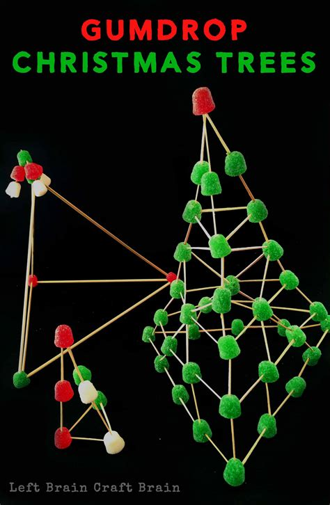invitation to build gumdrop christmas trees left brain