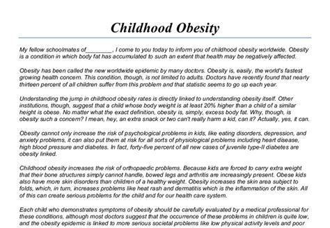 Childhood Obesity Essay Sle childhood obesity speech gcse marked by