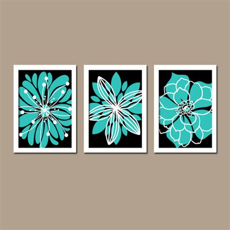 turquoise wall decor bedroom turquoise black wall art bedroom canvas white flower by