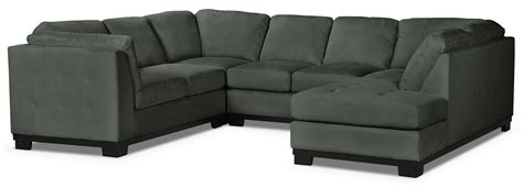 oakdale 4 microsuede right facing sectional grey
