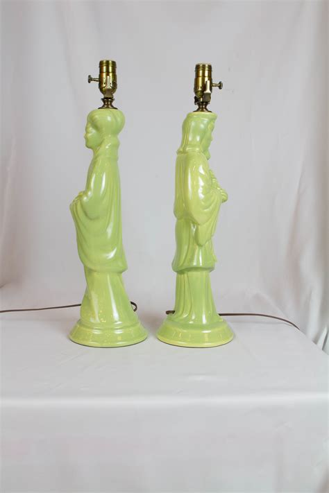 pair  vintage green asian figural lamps appleton