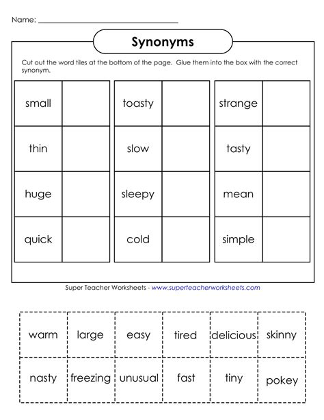 Synonym Worksheets by Everything Education Synonyms Worksheet