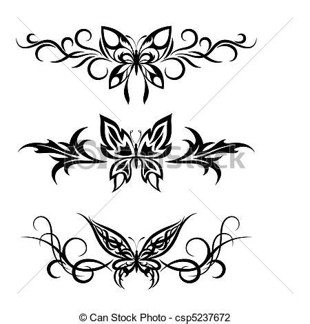 vector illustration of set tribal with butterflies tattoo