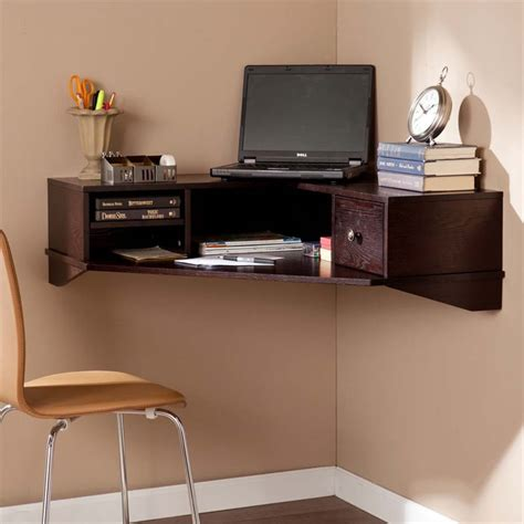 Southern Enterprises Rymark Corner Wall Mount Desk In Wall Office Desk