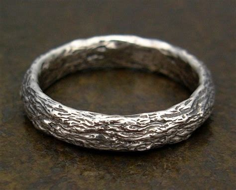rustic tree bark mens ring in sterling silver wedding