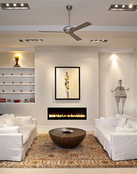 unusual coffee table coupled with a sleek fireplace decoist