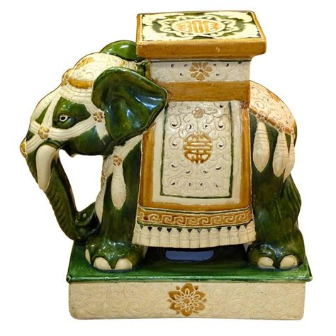 Vintage Elephant Garden Stool by Vintage Glazed Ceramic Elephant Garden Stool For Sale At
