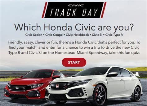 Honda Sweepstakes by Honda Honda Civic Track Day Sweepstakes