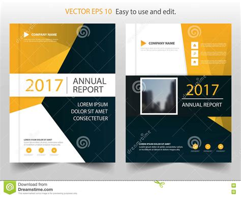 yellow black abstract annual report brochure design