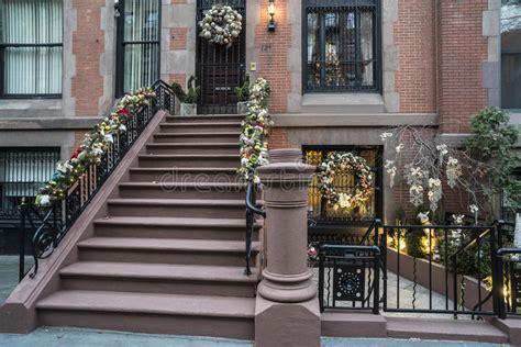 christmas  york city stock image image  brownstone