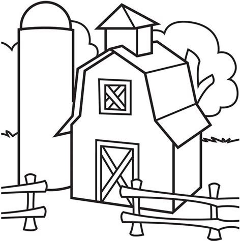 Black And White Coloring Pages Barn Pictures To Pin On Barn Coloring Page