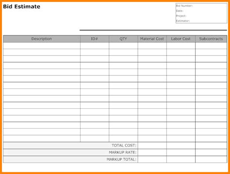 blank estimate form template blank forms templates