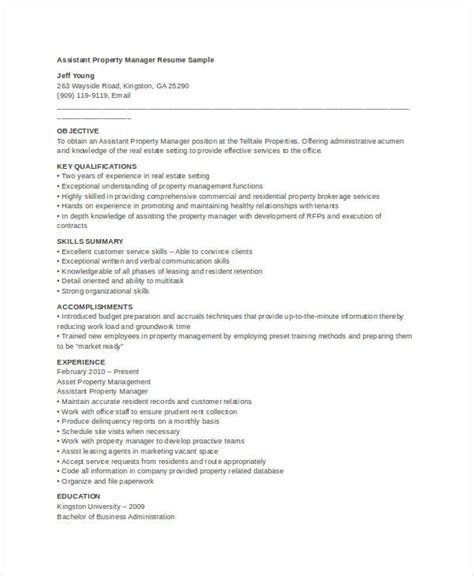 Resume Templates Property Manager by 10 Property Manager Resume Templates Pdf Doc Free