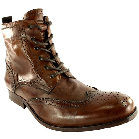 mens h by hudson angus brogue leather lace up smart ankle