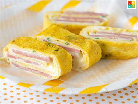 Bento Food Eggroll ham and cheese egg roll recipe rolled omelette tamagoyaki