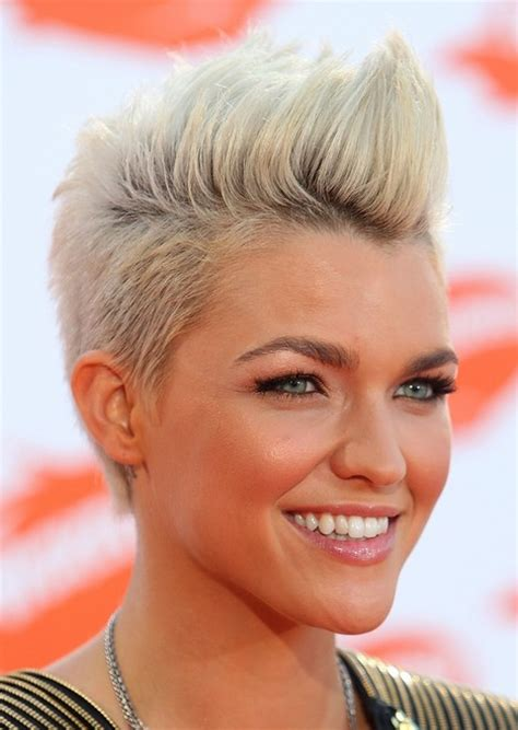 ruby rose haircut celebrity ruby rose short blonde fauxhawk hairstyle