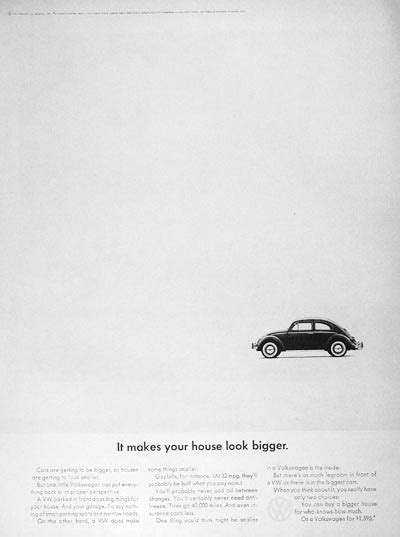 volkswagen think small think small advertising caign visual rhetoric