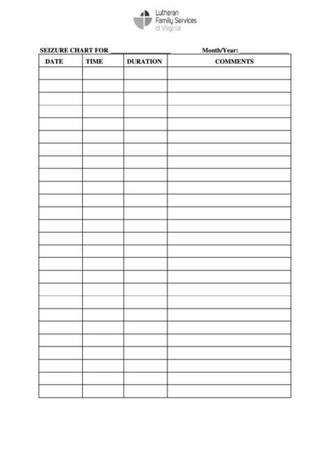 Fillable Seizure Chart Printable Pdf Download Seizure Log Template