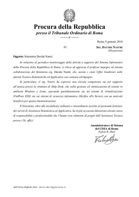 lettere di raccomandazione lettera di referenze procura di roma davide nastri
