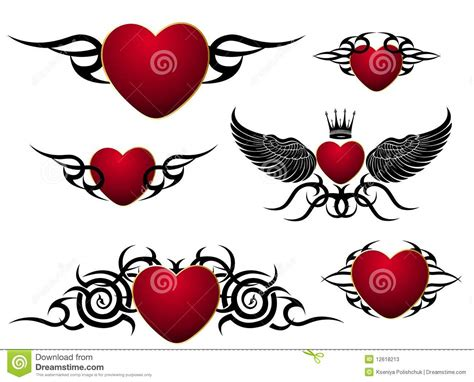 set of loving hearts tattoo design stock vector