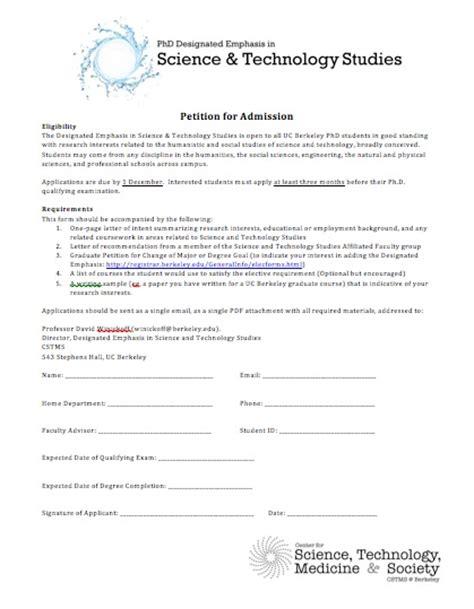 Petition Letter For Graduation Letter Of Application Letter Of Intent Graduate School Berkeley