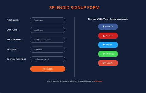template sign up form splendid signup form flat responsive widget template