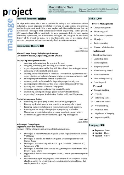 Project Manager Summary Statement by Japanese Project Manager