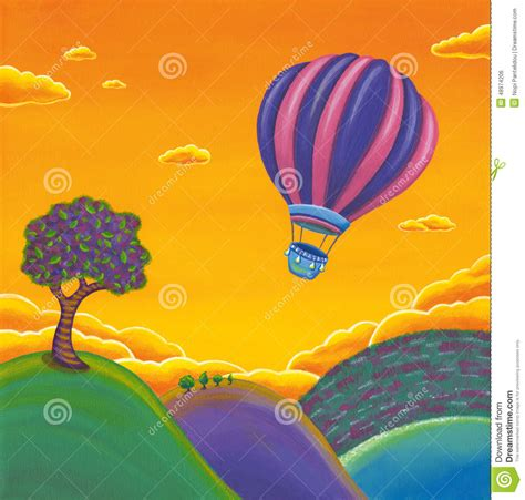 Whimsical House Plans hot air balloon painting scenery stock illustration
