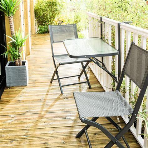 table chaise balcon ensemble balcon pliant 2 places en acier gris anthracite