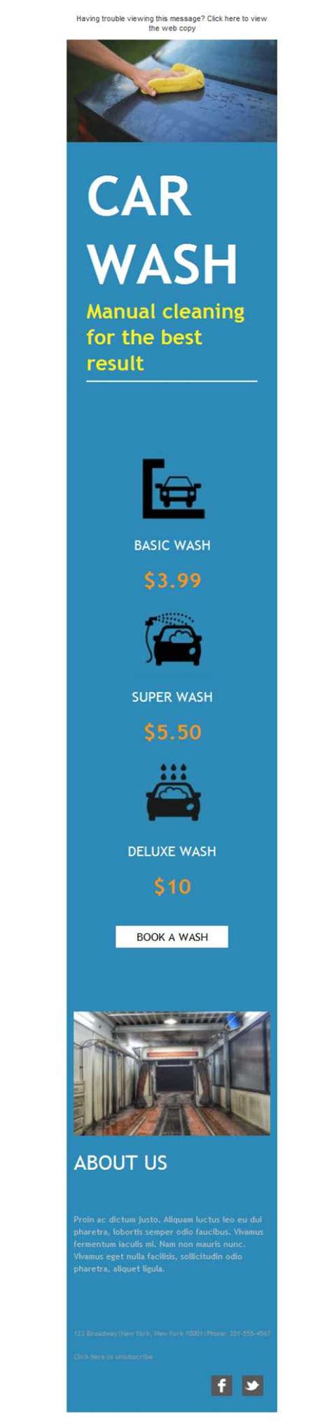 free newsletter template car wash service