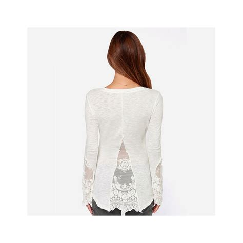 30579 Thick Cotton Lace Blouse White Cotton Lace Sleeve Blouse Casual Cotton
