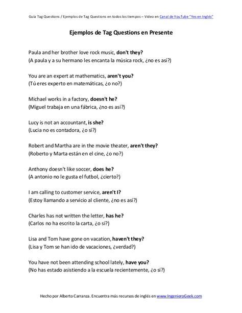 preguntas con wh en futuro continuo 50 ejemplos de tag questions en todos los tiempos verbales