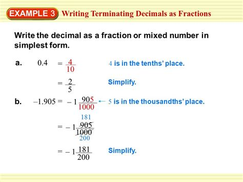 writing terminating decimals as fractions ppt