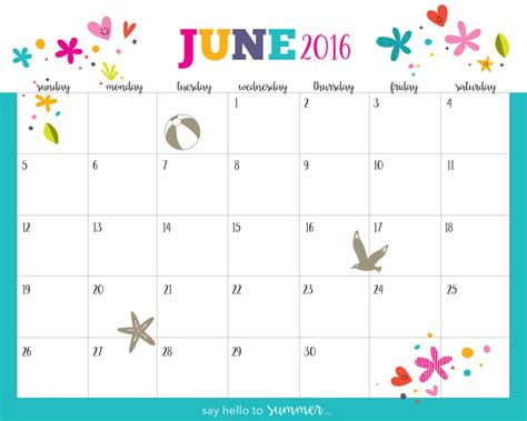 summer calendar template hello summer free printable calendar 2016 five spot