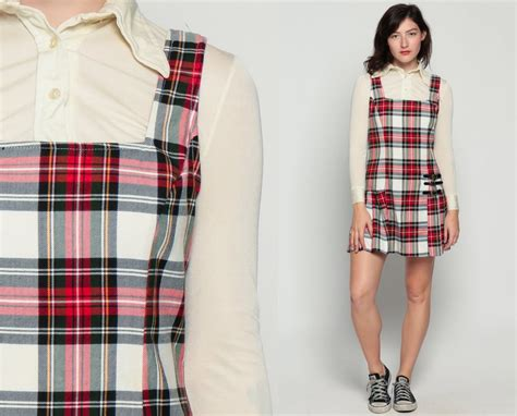 Plaid Pinafore Dress plaid dress 80s jumper mini pinafore pleated school dress
